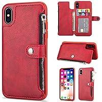 Yobby Leder Reißverschluss Zurück Brieftasche Hülle für iPhone X, iPhone X Schlank Vintage Rot HandyHülle mit... preisvergleich bei billige-tabletten.eu