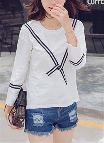 BESTHOO Donna Maglietta Manica Lunga Girocollo Allentato Casuale Camicetta Casual T-Shirt Stampate Tops Moda White