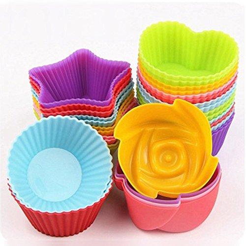 mingpinhui 24Stück Cupcake-Form Silikon Bakeware Muffin, Kuchen, zum Formen, Antihaftbeschichtung wiederverwendbar und hitzebeständig Backförmchen Cupcake backen mit Schutzhülle Silicone Cups (Silikon-backförmchen 24)