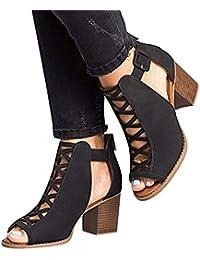 Sandalias para Mujer, Zapatos de Tacón Medio Mujer, Playa Zapatos de Verano, Zapatos de Boca de Pescado, Sandalias de Punta Abierta, Negro Caqui 35-43