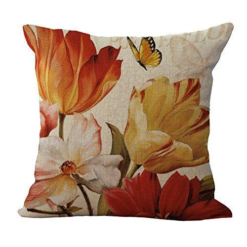 (shenhaimojing Home Decorative Retro Sunflower Flower Linen Cotton Throw Cushion Cover Pillow Case Office Chair 18 x 18 inches/45 x 45cm)