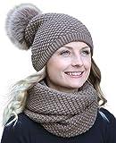Hilltop Winter Kombiset aus Schal und passender Strickmütze (Beanie mit Pompon), Winter Set:Braun