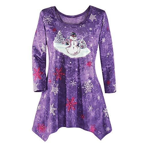 VEMOW Heißer Elegante Damen Plus Size Oberteile Winter Festliche Wasserfall Weihnachten Unregelmäßige Lässige Tägliche Party Lose Hem Bluse Top(X2-Violett, ()