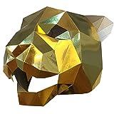 Face mask shield veil guard screen domino false front Jaguar tiger head mask makeup dance party party mask bright gold
