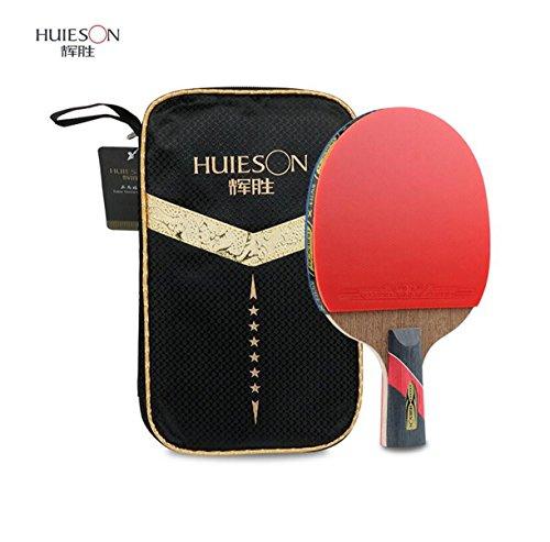 LANFIRE 6-Sterne-Tischtennisschläger professionelles Training doppelseitig Anti-Leim-Huhn Flügel Holz Tischtennisschläger Tischtennis Paddel (short)