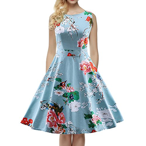 womens-1950s-60s-vintage-floral-style-rockabilly-cocktail-party-swing-dresses-blue-uk-14-16