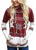 FIYOTE Womens Ugly Christmas Reindeer Snowflake Long Sleeve Hooded Sweatshirt Jumpers Casual Pullover Hoodie Large Red