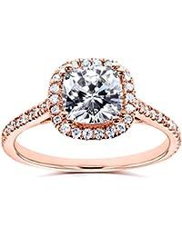 cushion-cut Moissanite anillo de compromiso de diamantes & 11/3quilates (de quilate) en 14K oro rosa _ 8.0