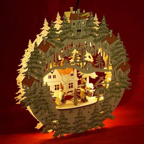Unbekannt Sigro Vogtland Souvenir Laser Forest Szene und Winter Figur Fenster selbst mit 2D Optik, LED-Streifen und Adapter, 30x 30x 5cm, Holz, Beige, 29,5x 5x 30cm