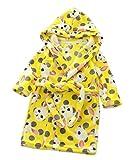 XINNE Unisex Kleinkinder Kinder Kapuzen Bademantel Jungen Mädchen Morgenmantel Cartoon Tier Pyjamas Flanell-Nachtwäsche Größe 90 Gelb Kaninchen