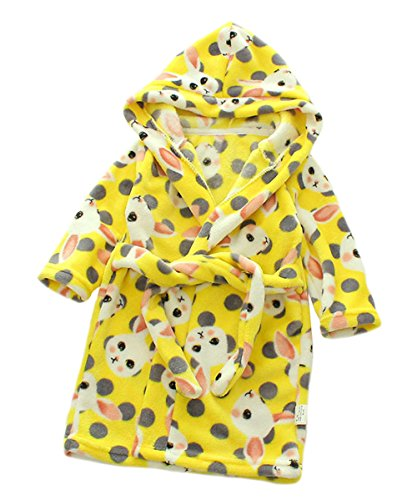 nder Kinder Kapuzen Bademantel Jungen Mädchen Morgenmantel Cartoon Tier Pyjamas Flanell-Nachtwäsche Größe 90 Gelb Kaninchen (Kleinkind 2t Größentabelle)