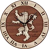 ELLANM Wandmontierter Tisch Goldener Löwe Holz Wanduhr Wohnzimmer Schlafzimmer Wand Wanduhr Quarzuhr Kreative Uhr, 30CM