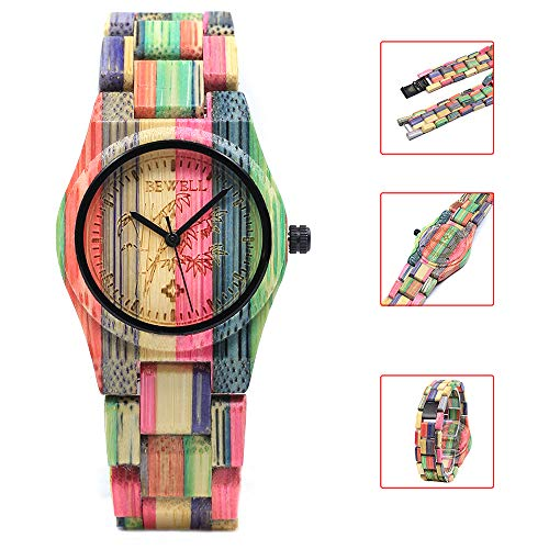 BEWELL Women's Wooden Watches Analogue Japanese Quartz Watch with Bamboo Bracelet Round Timepiece (Multicolour 1)