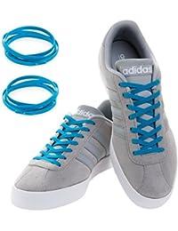 MAXXLACES - Cordones elásticos y planos, tensión ajustable para no tener que atar los zapatos, fáciles de usar, compatibles con todos los zapatos, Neon Blau