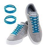 MAXXLACES Flache elastische Schnürsenkel mit einstellbarer Spannung in verschiedenen Farben Schuhbänder ohne Binden komfortable Schuhbinden einfach zu bedienen Past zu jedem Schuh (Neon blau)