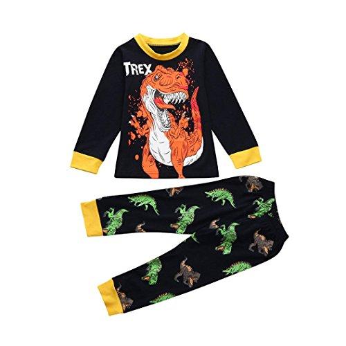 Byste neonato manica lunga pigiama bambino cartone animato dinosauro stampa camicie + pantaloni lunghi del fumetto messi (marina militare, 24 mesi)