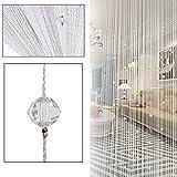 HTOYES Dekorativer Fadenvorhang mit Perlen, Wandvorhang, Schaufensterdekoration, Raumteiler, für Hochzeit, Café, Restaurant, mit Kristallquaste, Innendekoration weiß