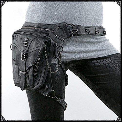 TTLCD Retro Rock Weinlese Gotische Steampunk Punk Männer Frauen Leder Schultertasche Taille Beinbeutel verpackt Geldbörse Motorrad Tasche SL006