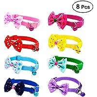 UKCOCO 8 Piezas Moda Mascotas Pajaritas con Campana, Corbatas del Collar de Perro y Gato, Lazos Ajustables Accesorios del Perro Gato (Color al Azar)