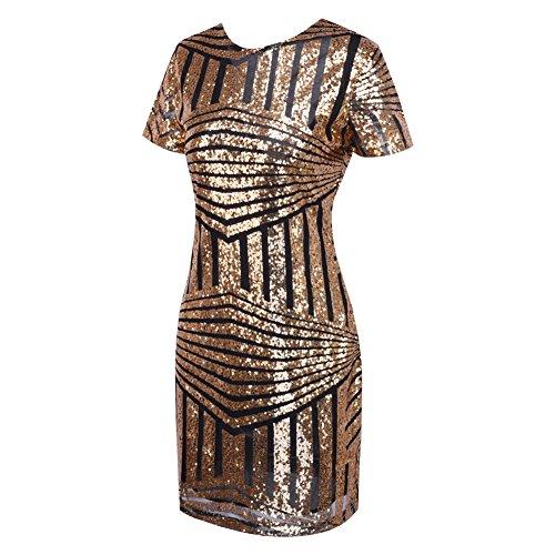 iBaste Bodycon Kleid Damen Pailletten Kleid Kurzarm Pencil Kleid elegant Minikleid Partykleid-GB-M - 5