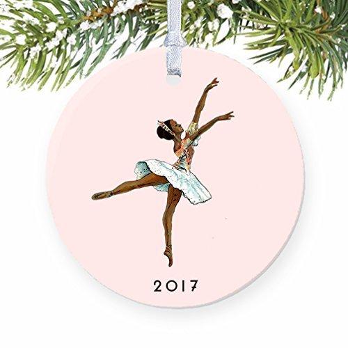 Rutehiy Weihnachtsdekoration für Bäume, Schwarze Ballerina-Nussknacker, Ballett, dunkle Haut, Ballerina-Ornament, Keramik, Basteln für Mädchen, Weihnachtsdekoration