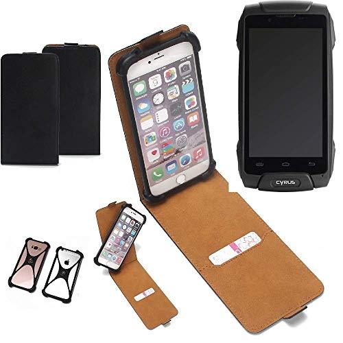 K-S-Trade Flipstyle Case für Cyrus CS 30 Schutzhülle Handy Schutz Hülle Tasche Handytasche Handyhülle + integrierter Bumper Kameraschutz, schwarz (1x)