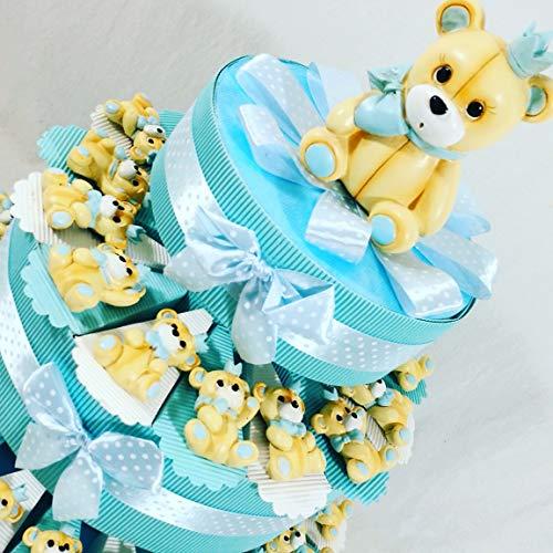 Bomboniere orsetti magnete nascita,battesimo bimbo confezionati o fai da te a seconda della scelta ... (torta 35 fette 3 piani)