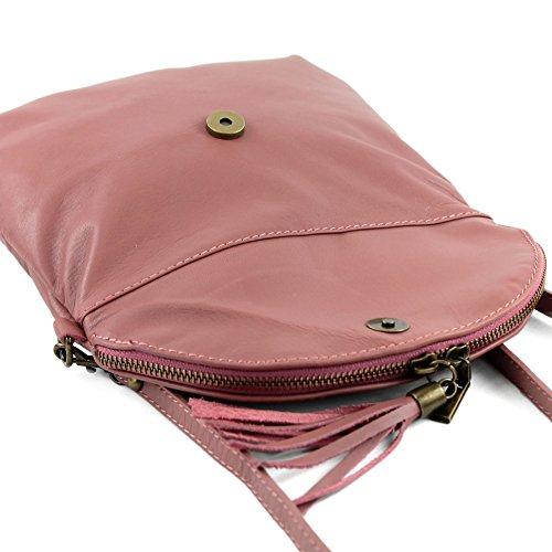 Pelle Pelletteria Piccola Antico Ital Di Borsa T139 Pochette Ragazze Tracolla Rosa