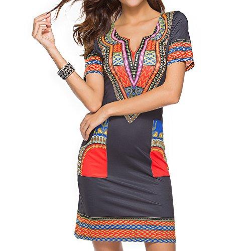 frican Print Shirt Kleider Femme Vintage Mini Hippie Plus Größe Boho Frauen Freizeitkleidung Rot M (Plus Größe Hippie Kleider)