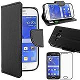 ebestStar - Cover Compatibile con Samsung Ace 4 Galaxy SM-G357FZ Custodia Portafoglio Pelle PU Protezione Libro Flip, Nero + Pellicola Vetro Temperato [Apparecchio: 121.4 x 62.9 x 10.8mm, 4.0'']
