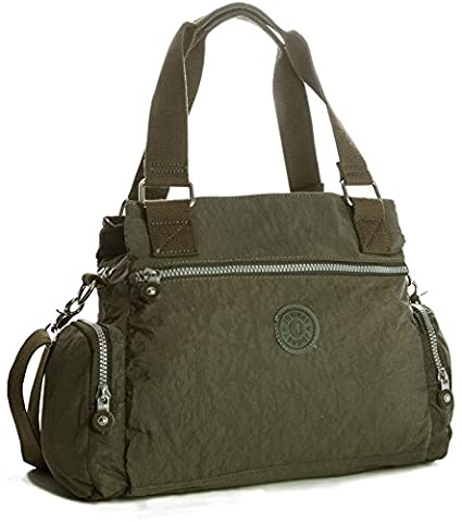 Big Handbag Shop Medium Fabric Multi Compartment Double Handle Shoulder Bag (Olive Green)
