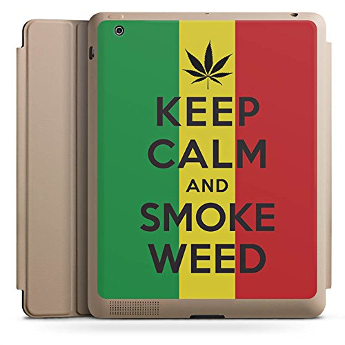 Apple iPad 2 Smart Case sand Hülle mit Ständer Schutzhülle Keep Calm and Smoke Weed Phrases Sayings (Weed Immer Smoke)