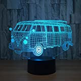 Leisurely Lazy School Bus 3D Optical Illusion Lamp 7 Colors Change and 15 Keys Remote Control LED Night Light Perfect Gifts Toys