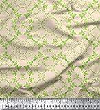 Soimoi Weiß schwere Satin Stoff Blätter Damast Drucken