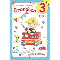 Fireman Grandson Age 3 ~ Large Luxury 3rd Birthday Card