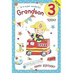 Feuerwehr Grandson Alter 3~ großen Luxus-3. Geburtstag Karte