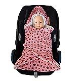 Baby Einschlagdecke Maxi cosi, Babyschale, Fußsack für Kinderwagen - für Winter aus Minky/Baumwolle SWADDYL (RosaCreme)