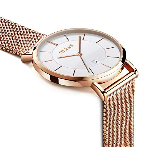 Calendar Steel Sale Analog Thin Lady Quartz rose Womens Watch women Mesh slim Gold Wrist Watches Clearance Watch Date Milanese Ladies Watch QdxBWoeECr