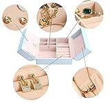 iSuperb-Joyas-Caja-Joyero-de-piel-sinttica-accesorios-organizador-de-almacenamiento-caso-de-viaje-para-anillos-pendientes-collar-pulsera-Nias-Mujeres-15-x-15-x-65-cm
