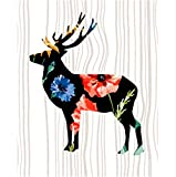 MYLOOO Deer Bilder Malen nach Zahlen Handgemalte Leinwand Cartoon Zeichnung DIY Ölgemälde nach Zahlen 40x50cm Weihnachten