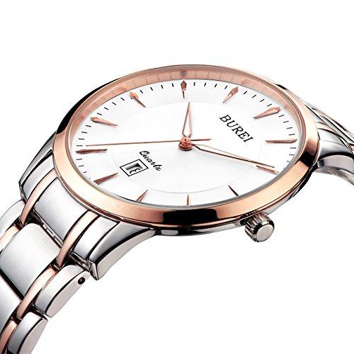 BUREI Precisi Orologio da Polso al Quarzo, Donna,lente di Sapphire Crystal, con braccialetto acciaio inox - Professionale Orologio Al Quarzo