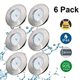 Spots LED Encastrables Kimjo 5W Blanc Chaud IP44 Pour Salle de Bain, Plafonnier Encastré Étanche Ultra Plat 500lm 3000K Equivalente de 50W Lampe de plafond 230V Non Dimmable Lot de 6