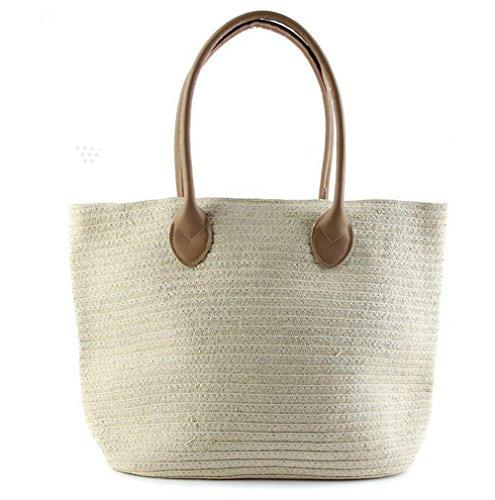 Borse a tracolla della borsa della spalla colore solido a strati tessuto a maglia di stirata del sacchetto di tempo libero di viaggio della paglia della spiaggia di Tote , light brown beige