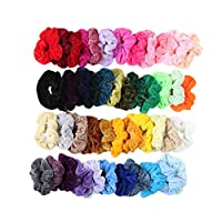 Bibao 40 Pack Headbands Vintage Velvet Hair Scrunchies Elastic Hair Bands Multi Color Hair Bobbles Hairband Twisted Accessories (47 Pcs)