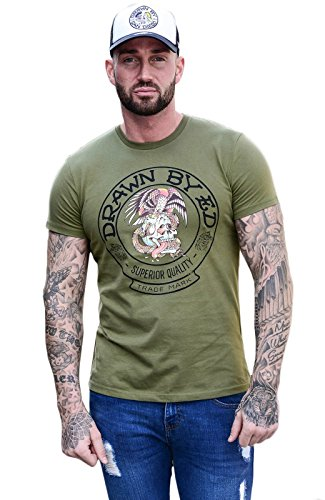 Ed Hardy Herren T-Shirt Gr. Immense, Khaki Drawn Fornia