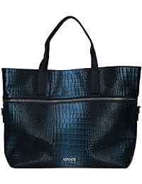 Armani Jeans Borsa Donna Shopping Verticale Cocco Laminata 9222907A806 BLU