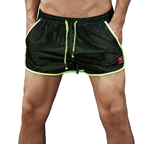 LMMVP Homme Pantalon (͡° ͜ʖ de Sport Court Short Taille Élastique Bouffant Legging Pants Casual pour Fitness Jogging Gym