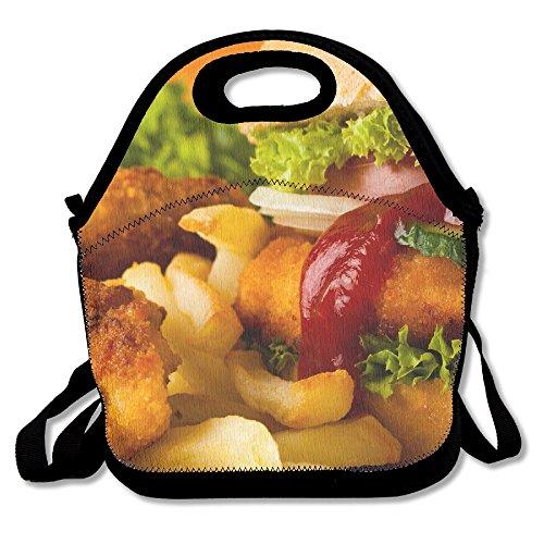 Hamburger frites Lunch Tote Sac de voyage école pique-nique Sac à lunch box Lunch support pour hommes, femmes, enfants