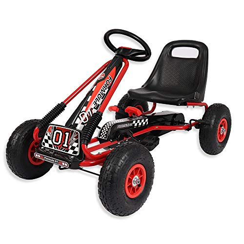 Wido Kids Ride On Pedal Racing Go Kart Red/Black Ages 3-6 Years Test