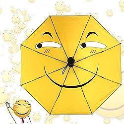 PANGUN Cara Divertida Emoji Anti UV Lluvia Sombrilla Compacta Niñas Niños Paraguas Plegable